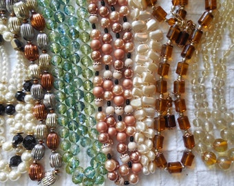 Lot of 7 Multi Strand Vintage Bead Necklaces to WEAR or CRAFT with