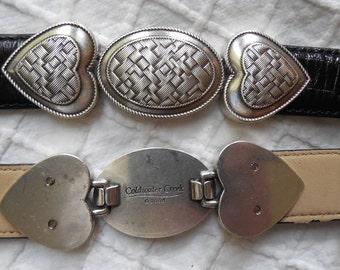 Black Leather Belt w/ Braided Silver Hearts Coldwater Creek L / XL