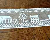 Curtain Lace Valance Ivory, Ecru Church & Home Country Cottage Chic Decor 1980's,  over 8 yards