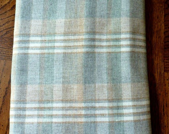 Wool Plaid Fabric Yardage Camel, Cream, Willow Green, Gray 1970's Vintage
