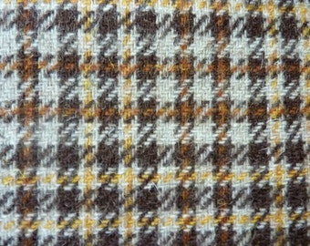 Wool Houndstooth Check Fabric Yardage 1970's Vintage Material Brown, Cream, Gold Damage Discount