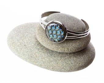 Checkered Blue Handmade Pottery Cabochon Adjustable Cuff Bracelet set in white plated brass / clay jewelry / casual jewelry /