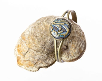 Blue Earthy Floral Swirls Handmade Pottery Cabochon Adjustable Cuff Bracelet set in antiqued brass / clay jewelry / casual jewelry /