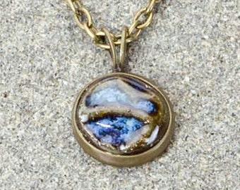 Tiny Blue pottery pendant- casual pottery focal piece on brass chain / clay jewelry / casual jewelry / boho jewelry / trendy jewelry