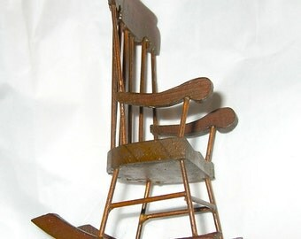 Small Vintage Dollhouse Wooden Rocking Chair