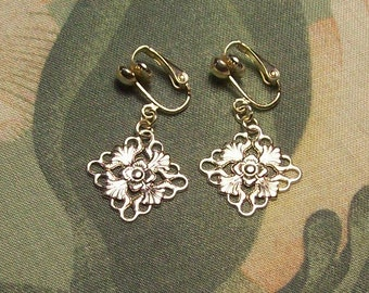 Clip on or Pierced Lightweight Flat Silver or Gold Filigree Square Diamond Earrings