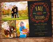 Fall Mini Session Template - Chalkboard Photo Session Announcement- Photography Marketing Board -PSD Layered Template - INSTANT DOWNLOAD