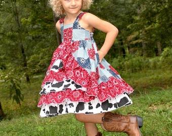 Girls Cowgirl Dress, Girls Western Dress, Girls Ruffle Dress, Girls Dress, Girls Clothing, Rodeo Dress, Cow Print, Pageant Dress