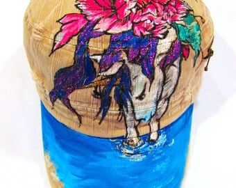 Hand Painted Tattoo Illustratrated Fantasy Unicorn Horse Beige Military Hat