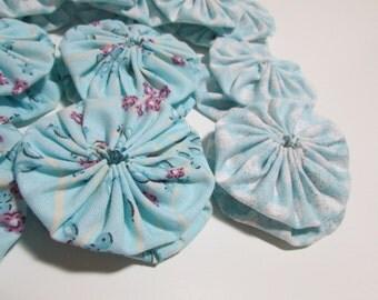 Light Teal/Blue Yo Yos for crafting, jewelry making, card making