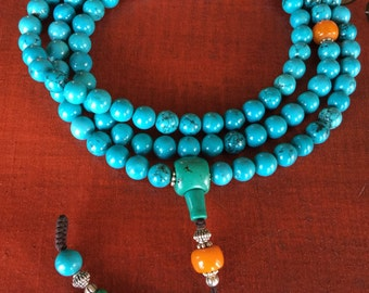 One of a kind Tibetan Turquoise Mala 108 beads for meditation