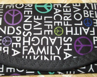 LOVE, Peace sign, Family, tossed words, Faith, Life, Kind, Live,  60's, cotton fabric,7 x 3 Wallet, Envelope, Clutch bag