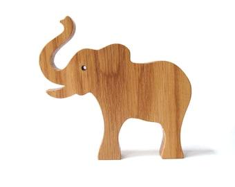 Large Wood Elephant Toy Wooden Wild Animal Toy Waldorf  Wild Animal Wooden Toy Waldorf Elephant Oak