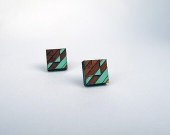 Tribal Post Earrings Blue Green and Red on Walnut