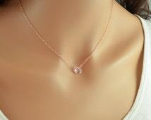 Rose Gold Necklace, Morganite Quartz Necklace, Rose Gold Choker, Gemstone Jewelry, Gemstone Choker, Choker Necklace, Soft Pink