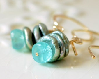 Apatite Earrings, Semiprecious Aqua Gemstone, Sage Green Keshi Keishi Freshwater Pearls, Gold Jewelry, Free Shipping