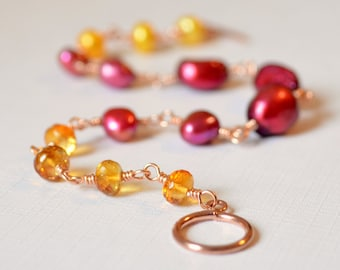 Pearl and Citrine Bracelet, Real Gemstone, Cranberry Red, Yellow, Fuchsia, Wire Wrapped, Rose Gold Jewelry, Free Shipping