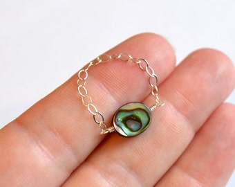 Abalone Ring, Chain Ring, Sterling Silver, Dainty and Delicate, Simple Paua Shell Jewelry, Size 7, Free Shipping