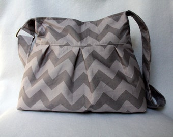 Chevron Tote Bag in Gray with Pleats and Adjustable Strap