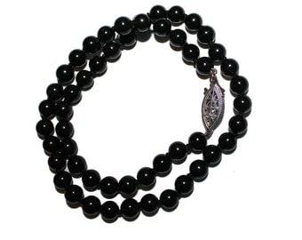 Black Onyx Necklace - beaded necklace