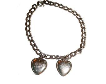Vintage Sterling Silver Lovers Charm Bracelet - Heart Bracelet