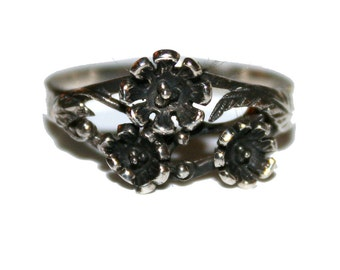 Vintage Sterling Silver Flower Ring - Vintage 70s sterling 925 ring Daisy