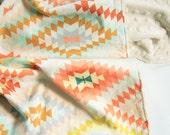 Minky Baby Blanket - Serape Dream - Personalization Available - Toddler Blanket - Kilim Baby Blanket