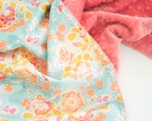 Floral Baby Blanket - Minky Baby Blanket - Orchard Blossom Spring - Personalized Baby Blanket - Sweet as Honey