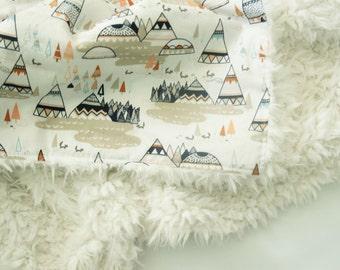 Teepee and Foxes Oak Baby Blanket - Faux Fur Blanket - Toddler Blanket