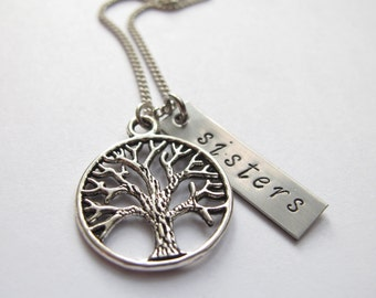 Sisters and Family Tree Necklace // Sister Necklace // Engraved Necklace // Hand-Stamped // Personalized Necklace // Sister Gift // Family