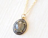 Luxurious Oval Labradorite and White Topaz Necklace / 14K gold filled / modern simple luxe everyday jewelry