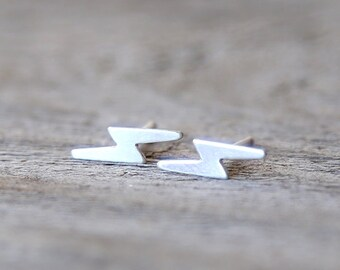 Minimal Sterling Silver Silver Lightning Bolt Post Stud Earrings - Everyday dainty small jewelry