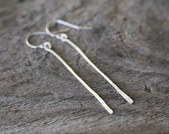 Hammered Wire Bar Earrings - simple everyday modern jewelry