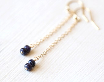 Luxe Sapphire Drop Dangle Earrings // 14K Gold filled // Sterling Silver // Rose Gold // everyday dainty delicate jewelry