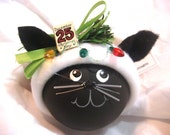 Black Cat Christmas Ornaments Sign Christmas Lights Personalized Name Tag Option Hand Painted Handmade Townsend Custom Gifts - BackRoom