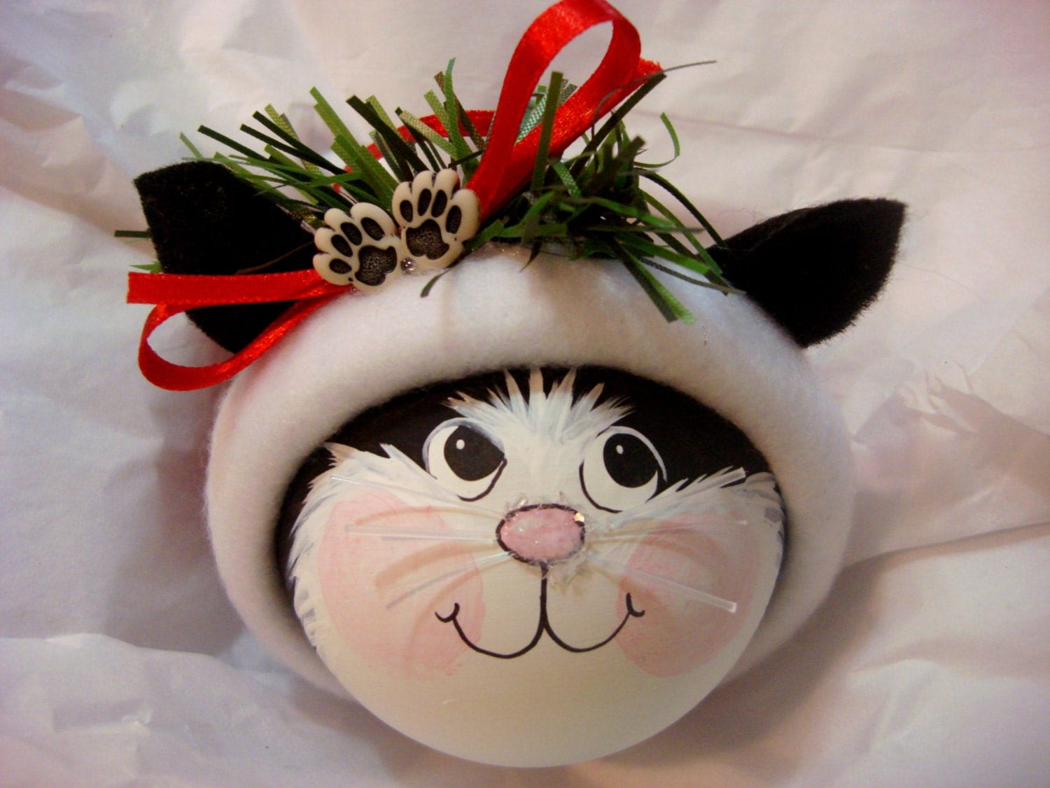 Cat Tree Ornament Black White Paws