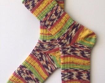 "Knitted Women's Wool Sock , "" Fortissima , Karneval"""