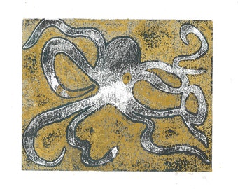 Blue and Gold Octopus Print
