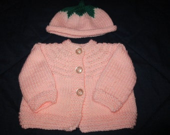 Knit sweater and fruit cap set