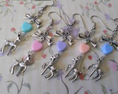Sweet Lolita deer fawn earrings with colorful hearts and bows