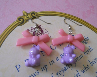 Sweet Lolita bear earrings with pink bows
