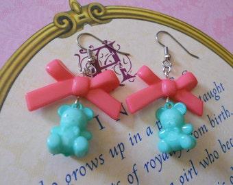 Sweet Lolita bear earrings with dark pink bows