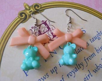 Sweet Lolita bear earrings with peach bows