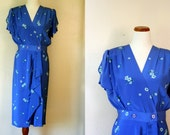 FREE USA Shipping / Vintage Dress / 80s Floral Silk Dress / Medium Large