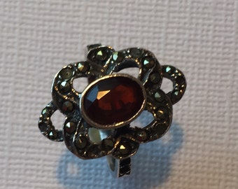 Sterling Silver Marcasite and Garnet Ring