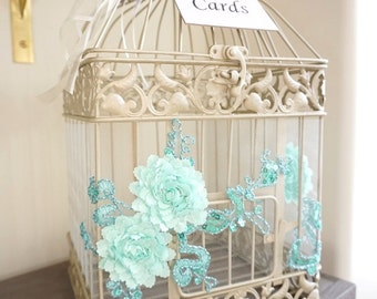 Something Blue, Blue Birdcage, Birdcage Card Holder, Money Box, Wedding Birdcage, Wedding Money Box, Card Holder, Wedding Gift Box, Card Box