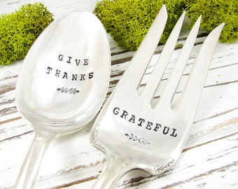 Give Thanks. Hand Stamped Serving Spoon and Fork Set. Grateful. Vintage Silverware. Hostess Gift. Rustic Thanksgiving Dinner. 061HOL