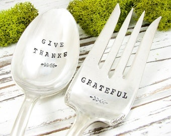 Give Thanks. Hand Stamped Serving Spoon and Fork Set. Grateful. Vintage Silverware. Hostess Gift. Christmas Dinner. 061HOL
