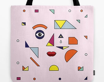 "FACE MODERN (No.2) -  Pink - Girl's / Woman's - Tote Bag / Book Bag / Record Bag - 18"" x 18"""
