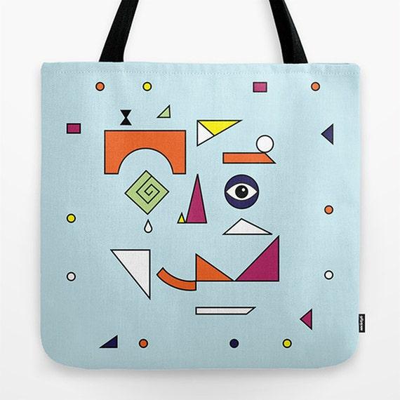 """FACE MODERN (No.1) -  Light Blue - Contemporary Tote Bag / Book Bag / Record Bag - 18"""" x 18"""""""
